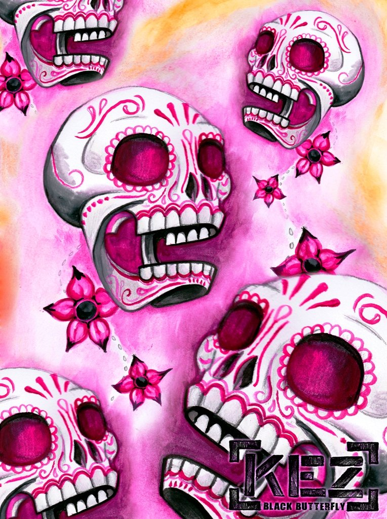 Pink Sugar Skull Wallpaper Pink sugar skulls by feardakez 764x1024