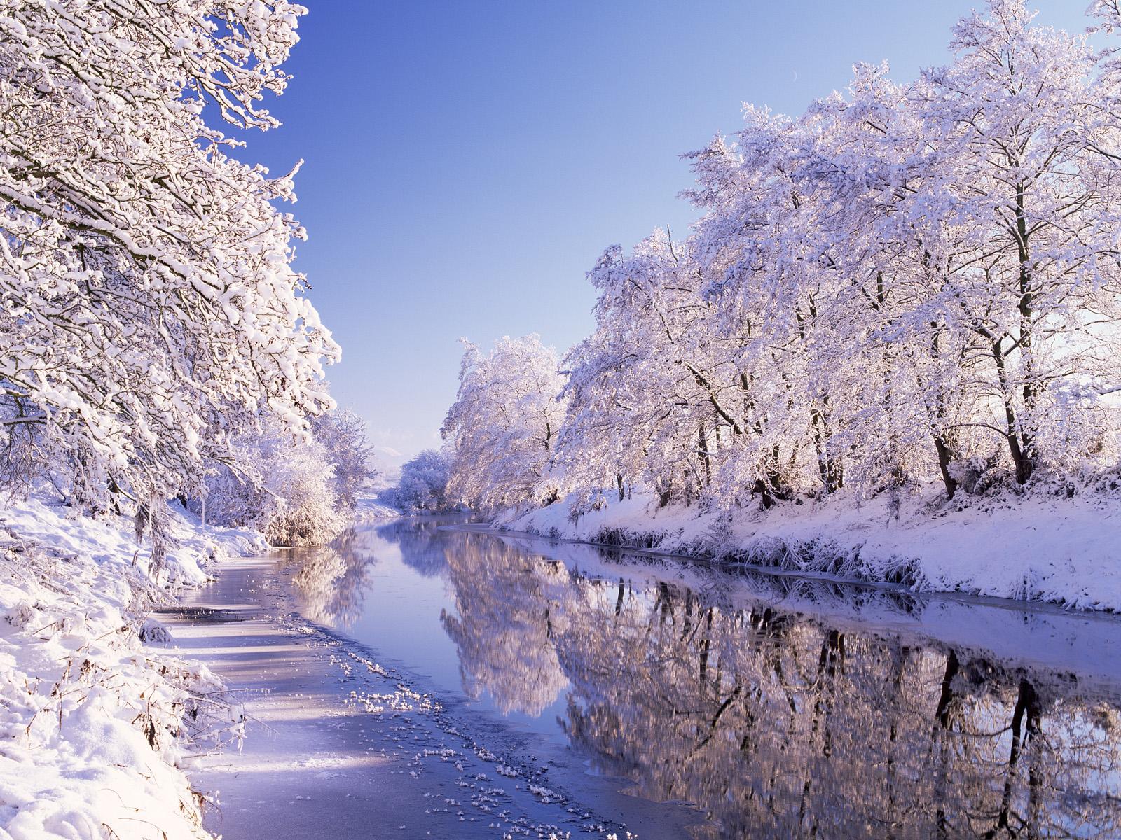 Image River Bann Northern Ireland Nature Winter Snow Seasons 1600x1200