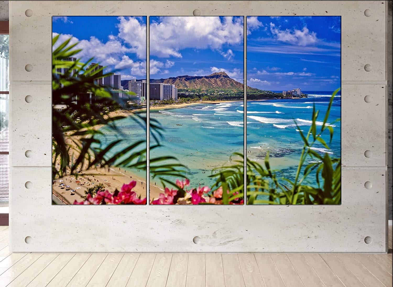 Amazoncom waikiki beach skyline canvas waikiki beach wall art 1500x1096