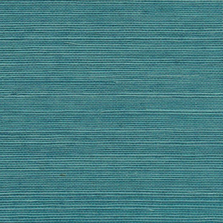 Navy Grasscloth Wallpaper And Gold Rivets Mirror: Phillip Jeffries Hemp Wallpaper