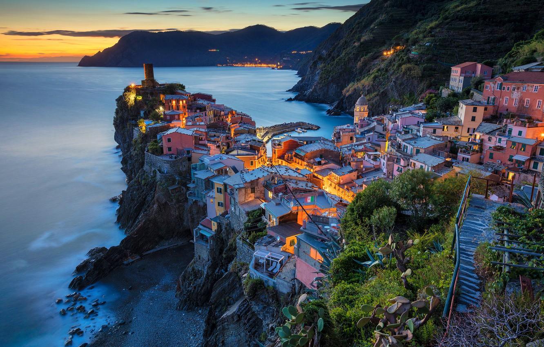 Wallpaper sea mountains night lights rocks home Italy 1332x850