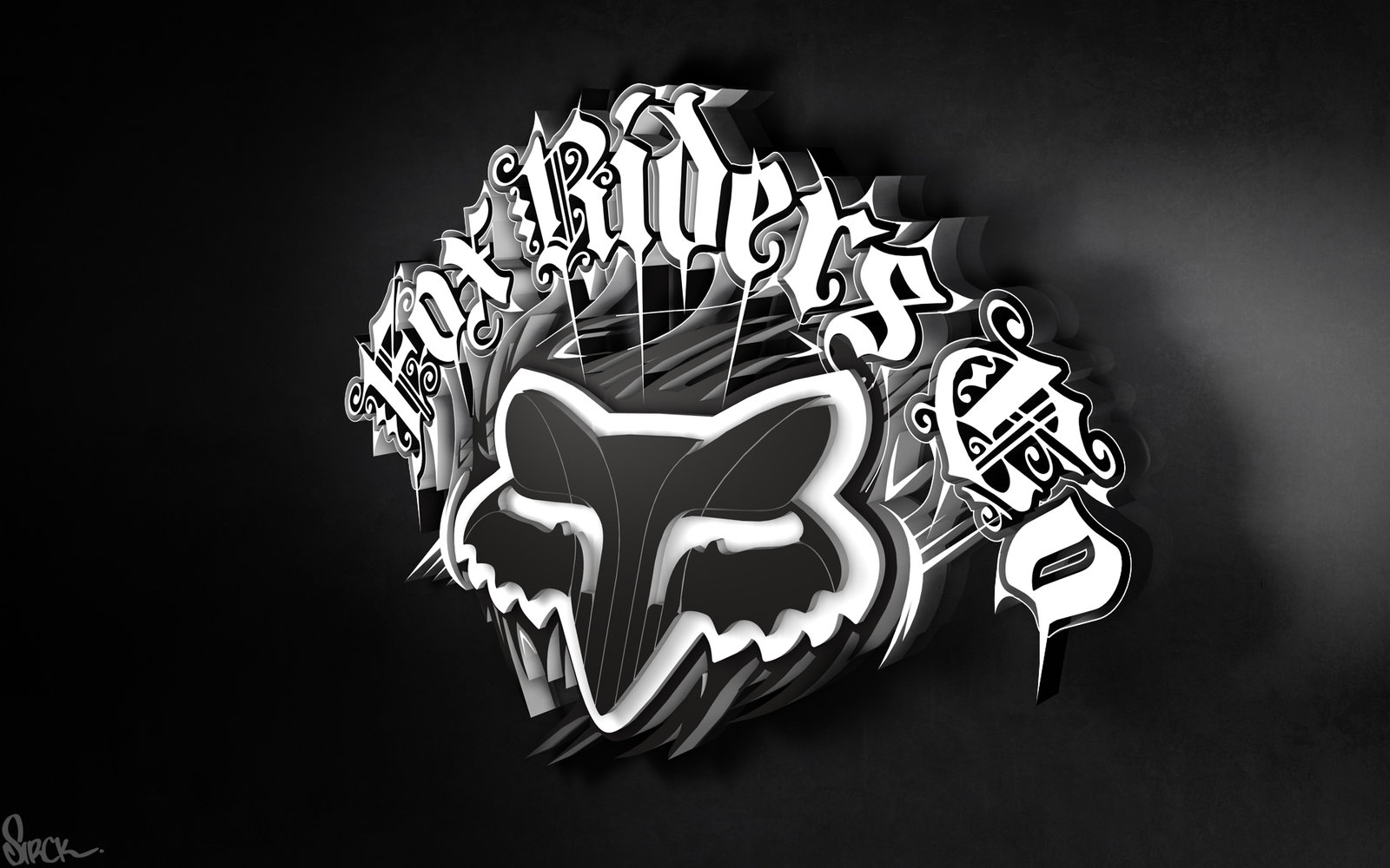 fox riders 3d logo wallpaper by small sk8er customization wallpaper 1600x1000