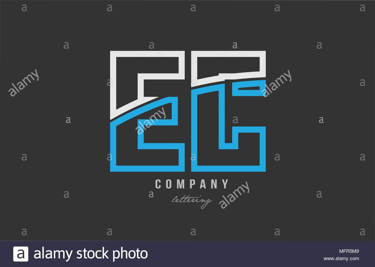 white blue alphabet letter ec e c logo combination design on black 1300x926