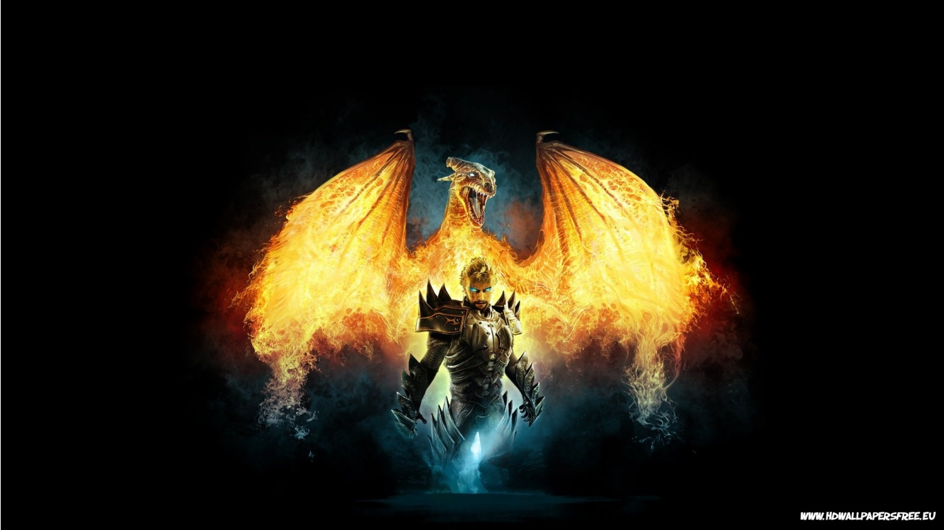Dragon on Fire Wallpaper in 1366x768 Resolution 1366x768