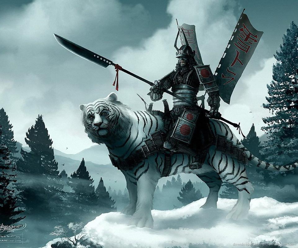 Download Samurai On A White Tiger Wallpaper For Samsung Epic 960x800