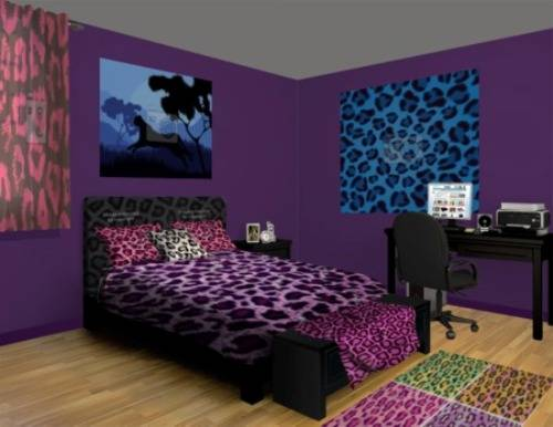 cheetah print and red bedroom Home Designs Wallpapers 500x386