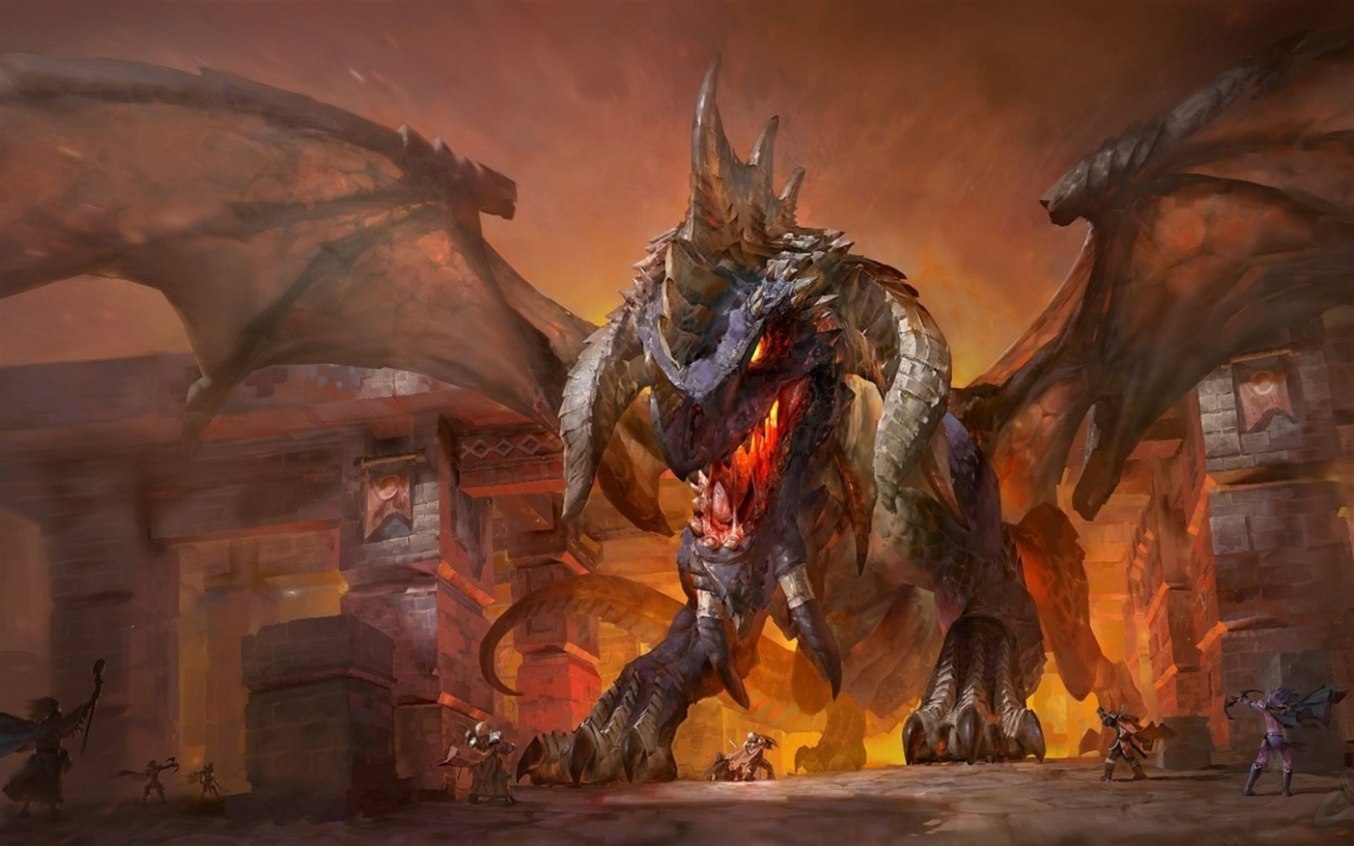 Download wallpapers Nefarian fire dragon monsters World of 1920x1200