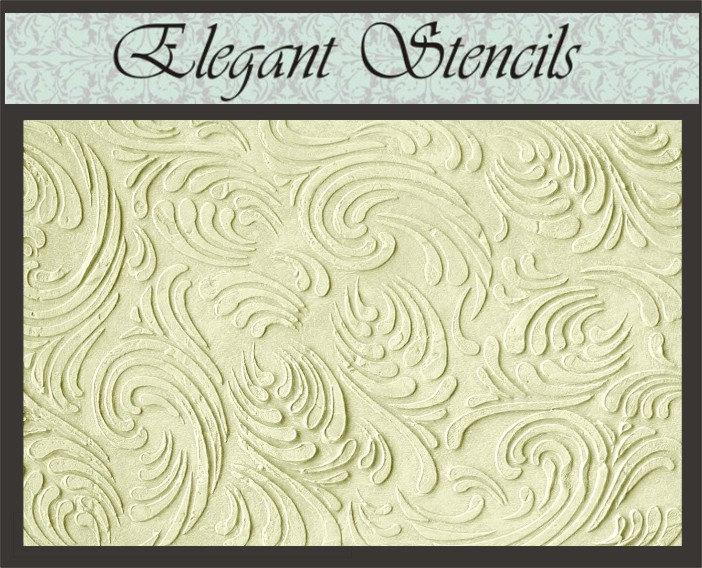 Raised Plaster Stencil Swirls Texture Wallpaper by ElegantStencils 702x568
