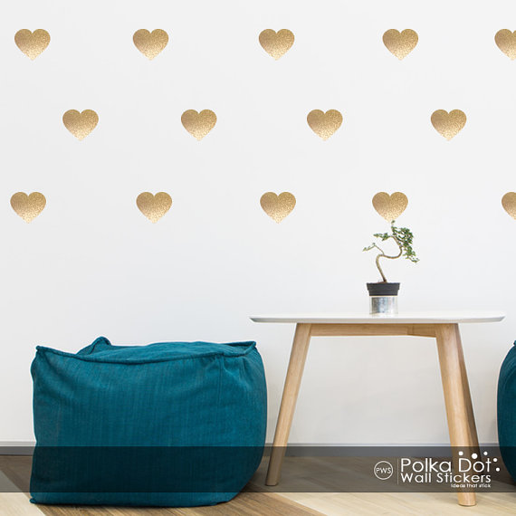 Peel and Stick Metallic Gold Heart Wall Decals Long Life Apartment 570x570