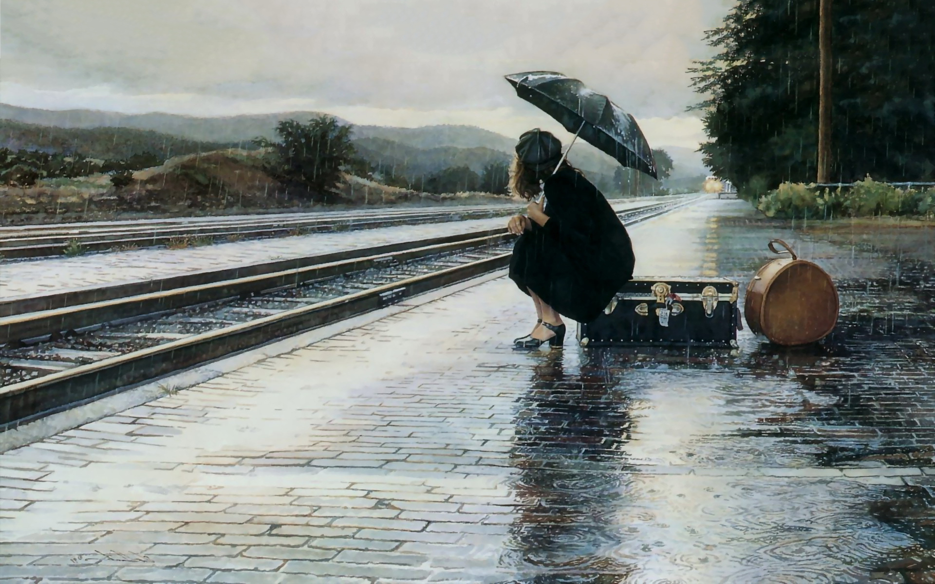 girl waiting for train wallpaper   Dispatches Europe 1920x1200