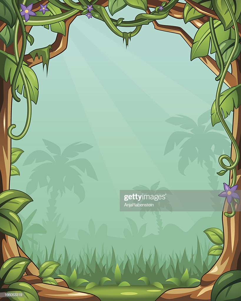 Vector Cartoon Jungle Background With Vines And Palm Trees High 819x1024