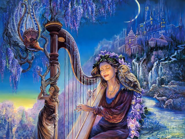 Minervas Melody   Celestial Goddess by Josephine Wall Wallpaper 640x480