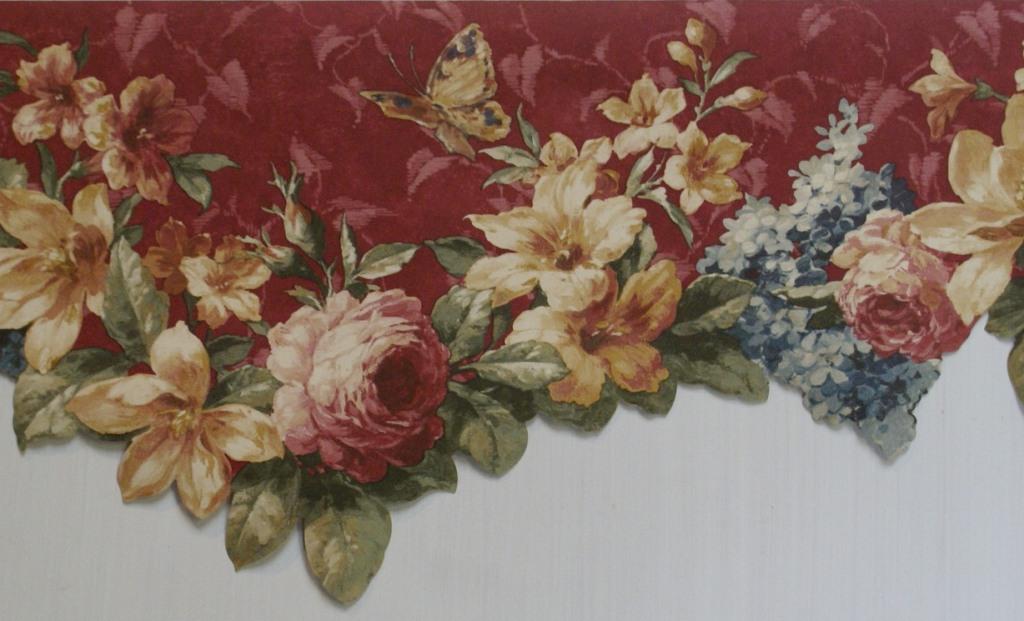 Burgundy Floral Scalloped Wallpaper Border   Kitchen Bathroom 1024x621