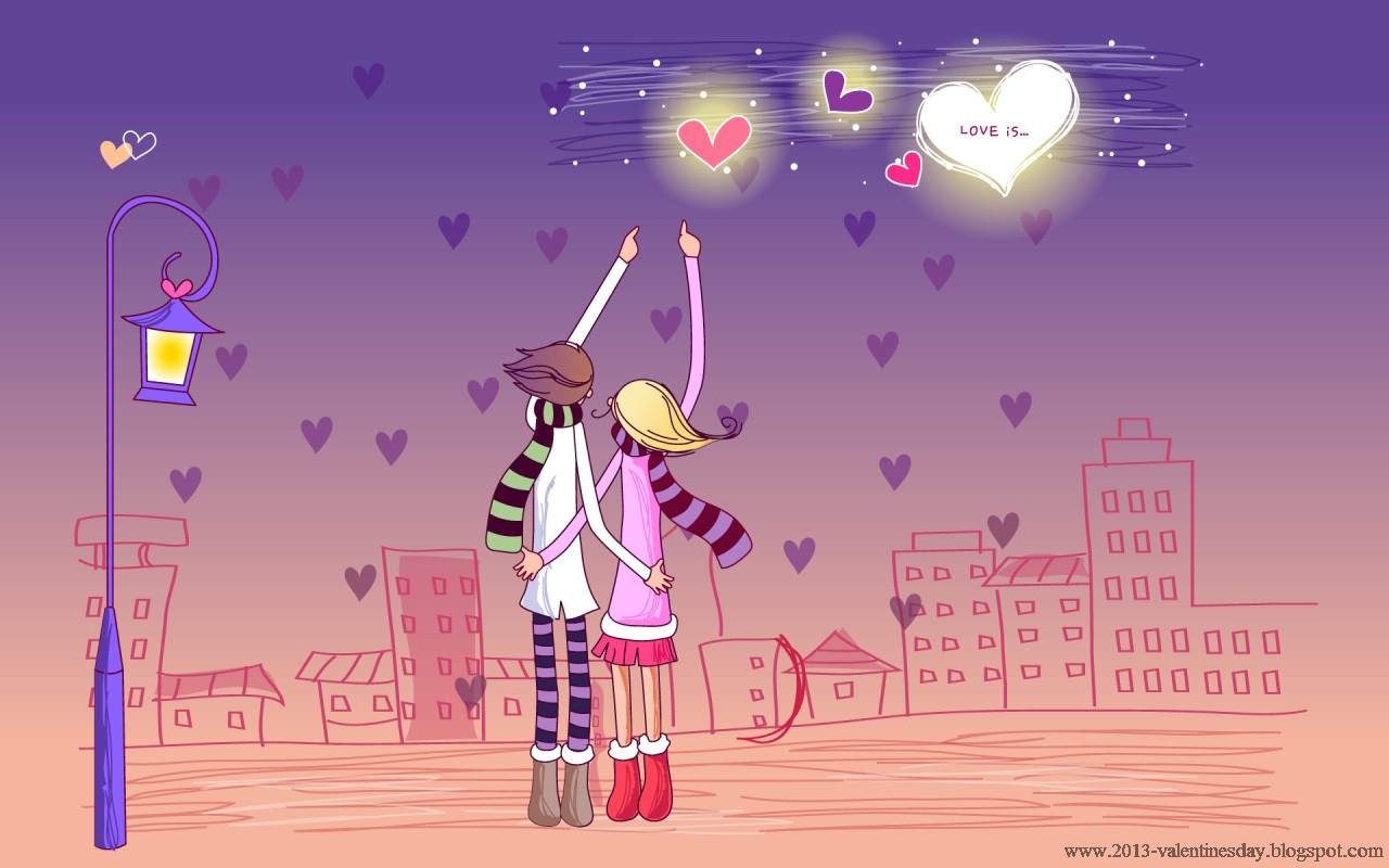 Cute Cartoon Couple Love Hd wallpapers for Valentines day Valentines 1280x800