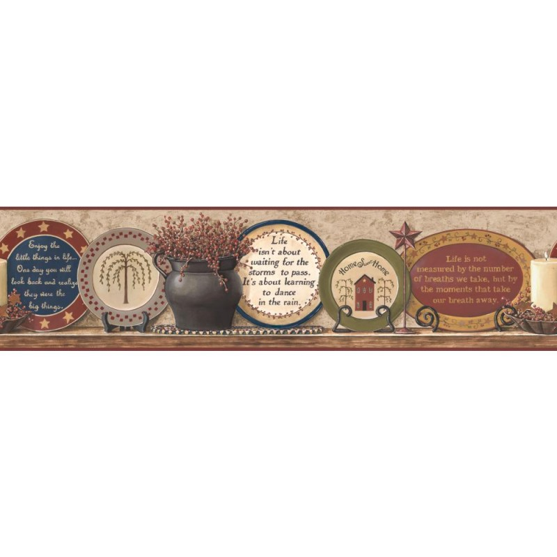 Wallpaper Border Country Country Plates With Sayings Border 800x800