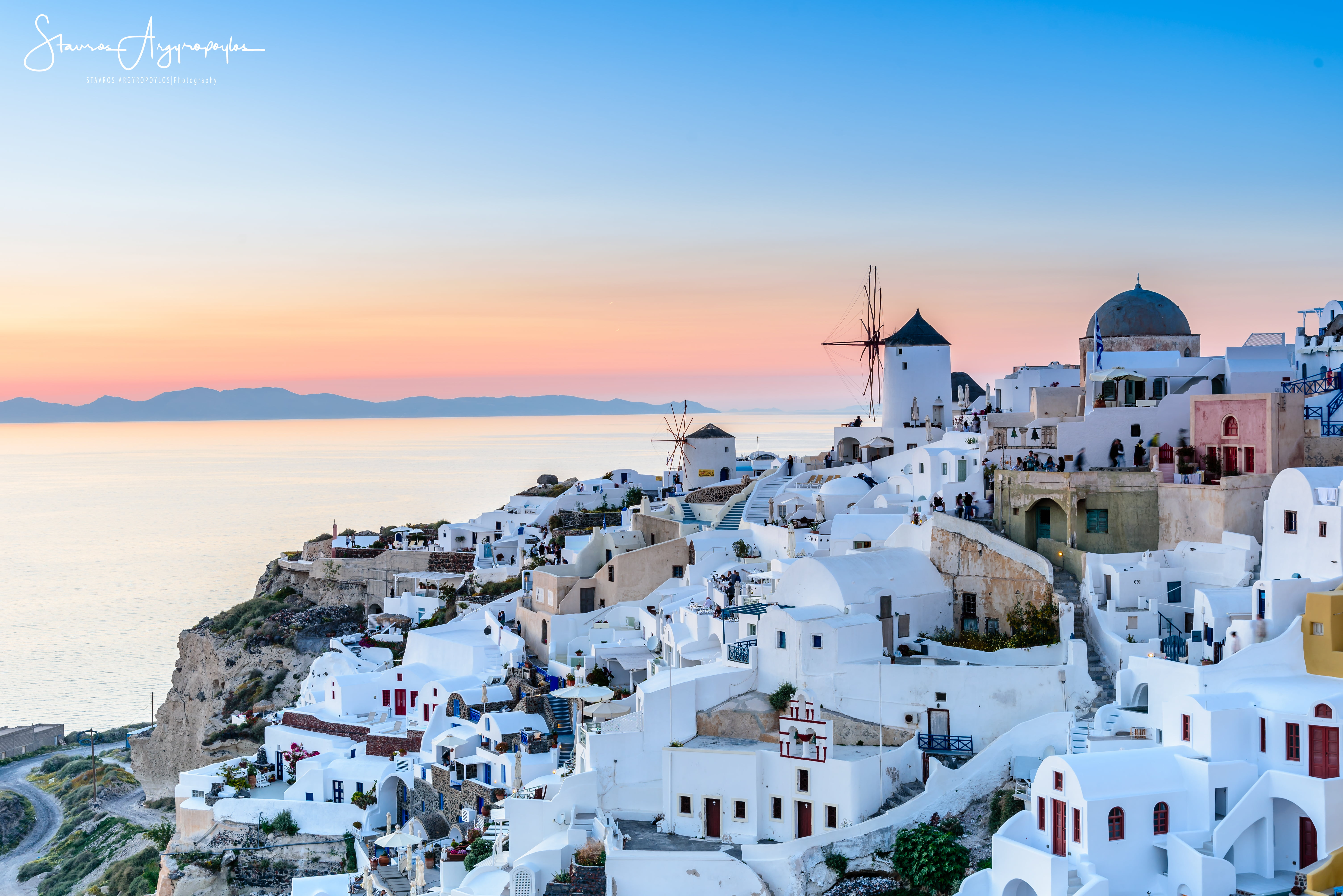 Photo of Santorini Greece during golden hour oia HD wallpaper 6016x4016