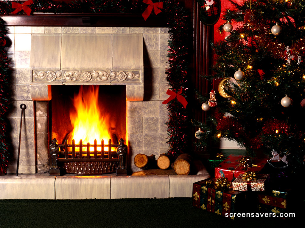 Christmas Fireplace Wallpapers For Desktop   Viewing Gallery 1024x768