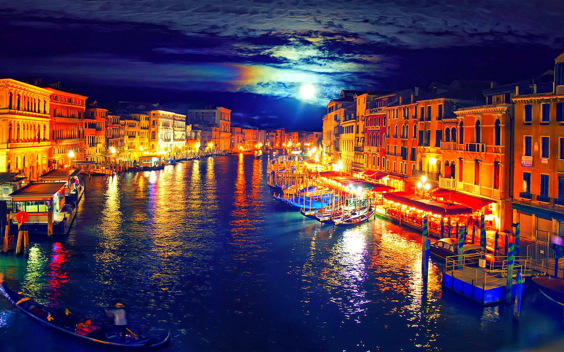 Venice At Night Painting HD Wallpaper Background Images 1920x1200