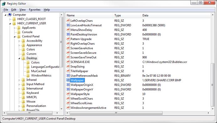 Windows 10 desktop wallpaper registry