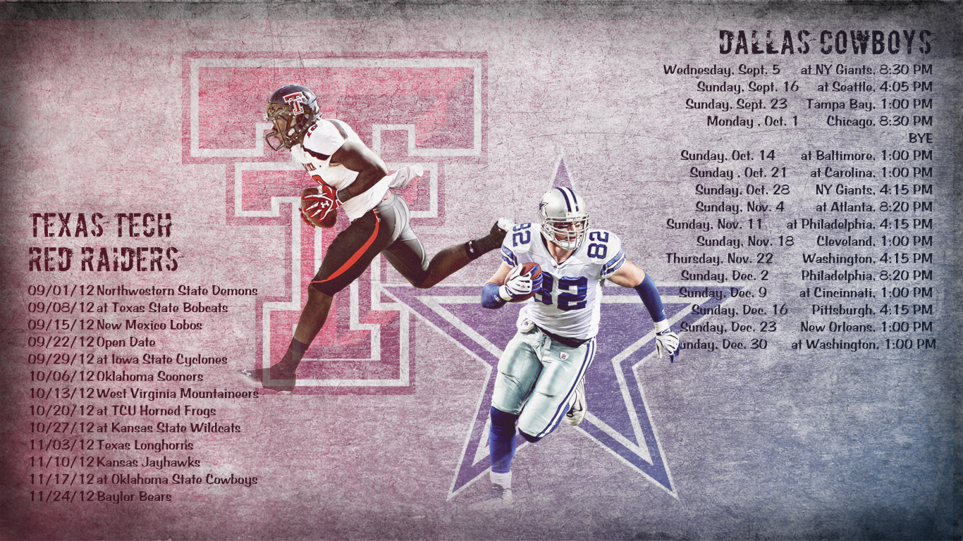 Tech Tech Dallas Cowboys 2012 Schedule Wallpaper Relay Wallpaper 1366x768