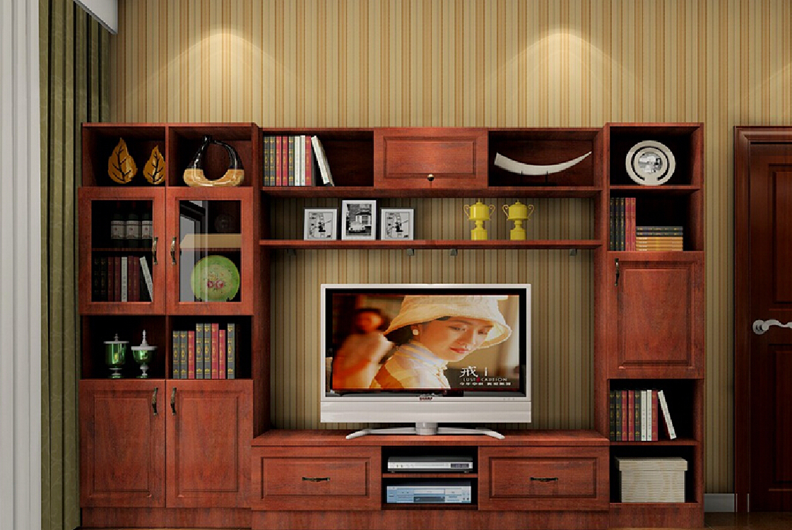 3D oak TV cabinet with vertical striped wallpaper 3D house 3D 1121x750