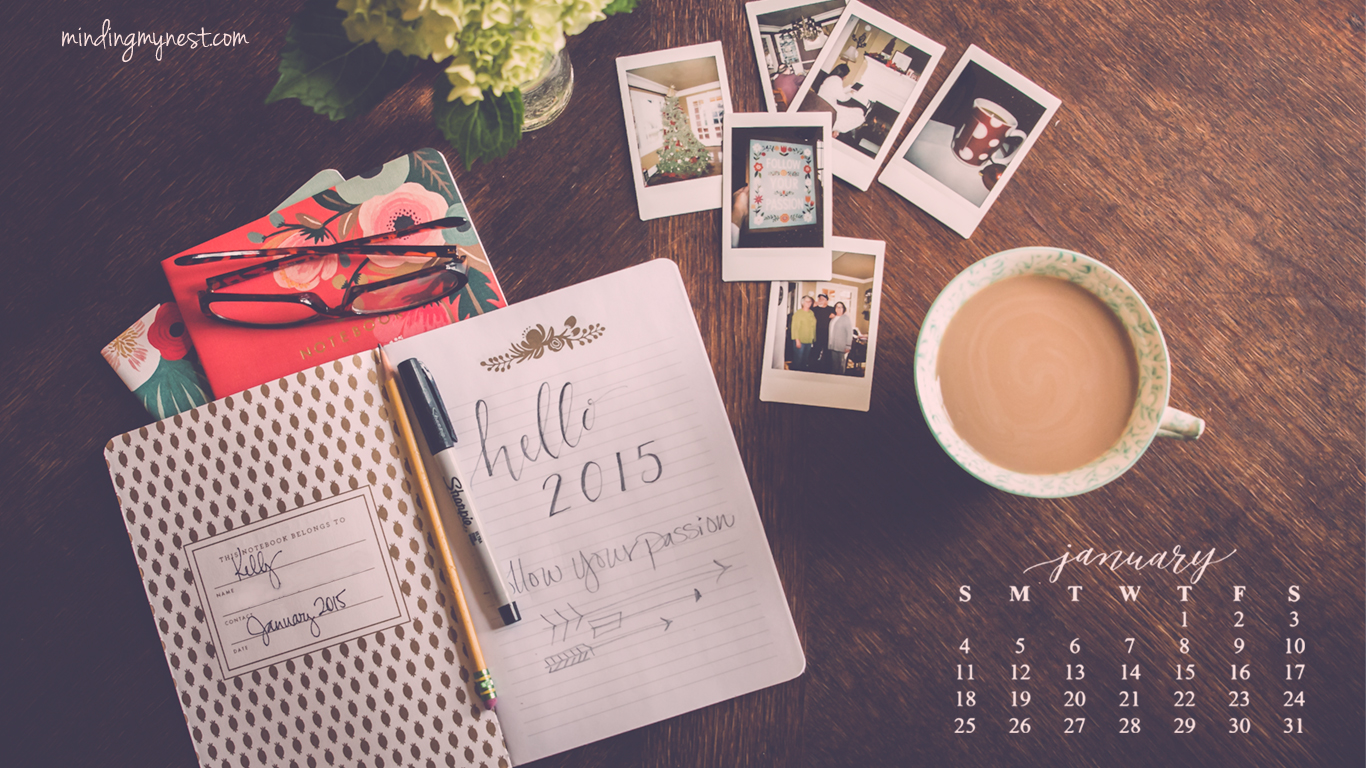 january 2015 desktop calendar 1366x768