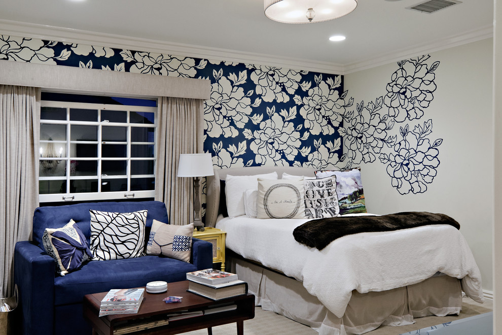 Big and bold flower design in blue colour set on white wall with one 990x660