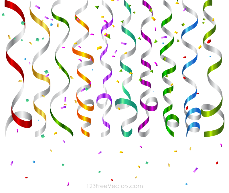 Vector Colorful Birthday Party Streamers and Confetti 800x675