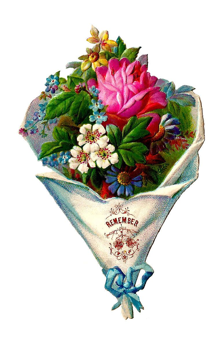 Antique Images Flower Clip Art Victorian Die Cut of Flower 765x1165