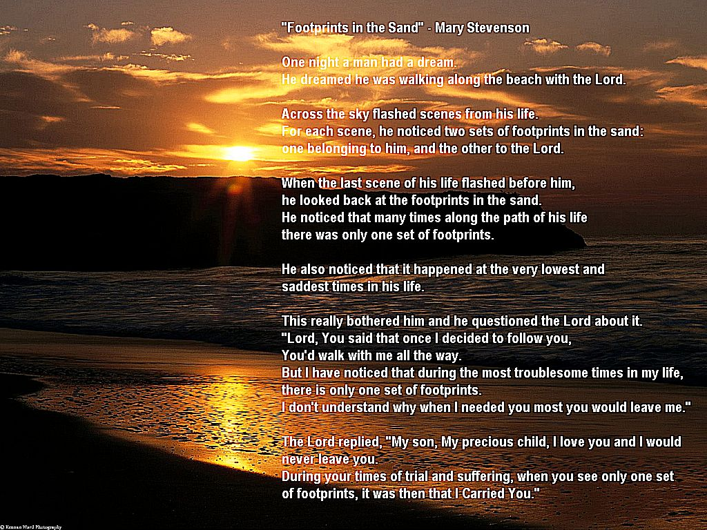 Set of Footprints Footprints in the Sand Poem 1024x768