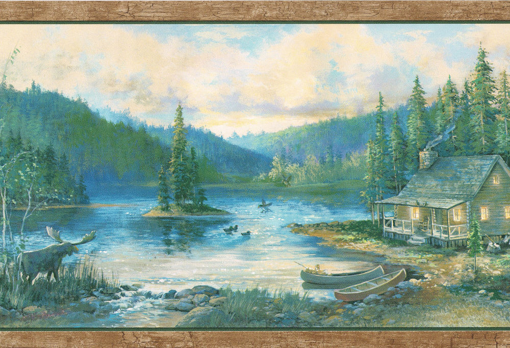 Moose Log Cabin Canoes Ducks Birch Trees Country Wallpaper Wall Border 1000x684