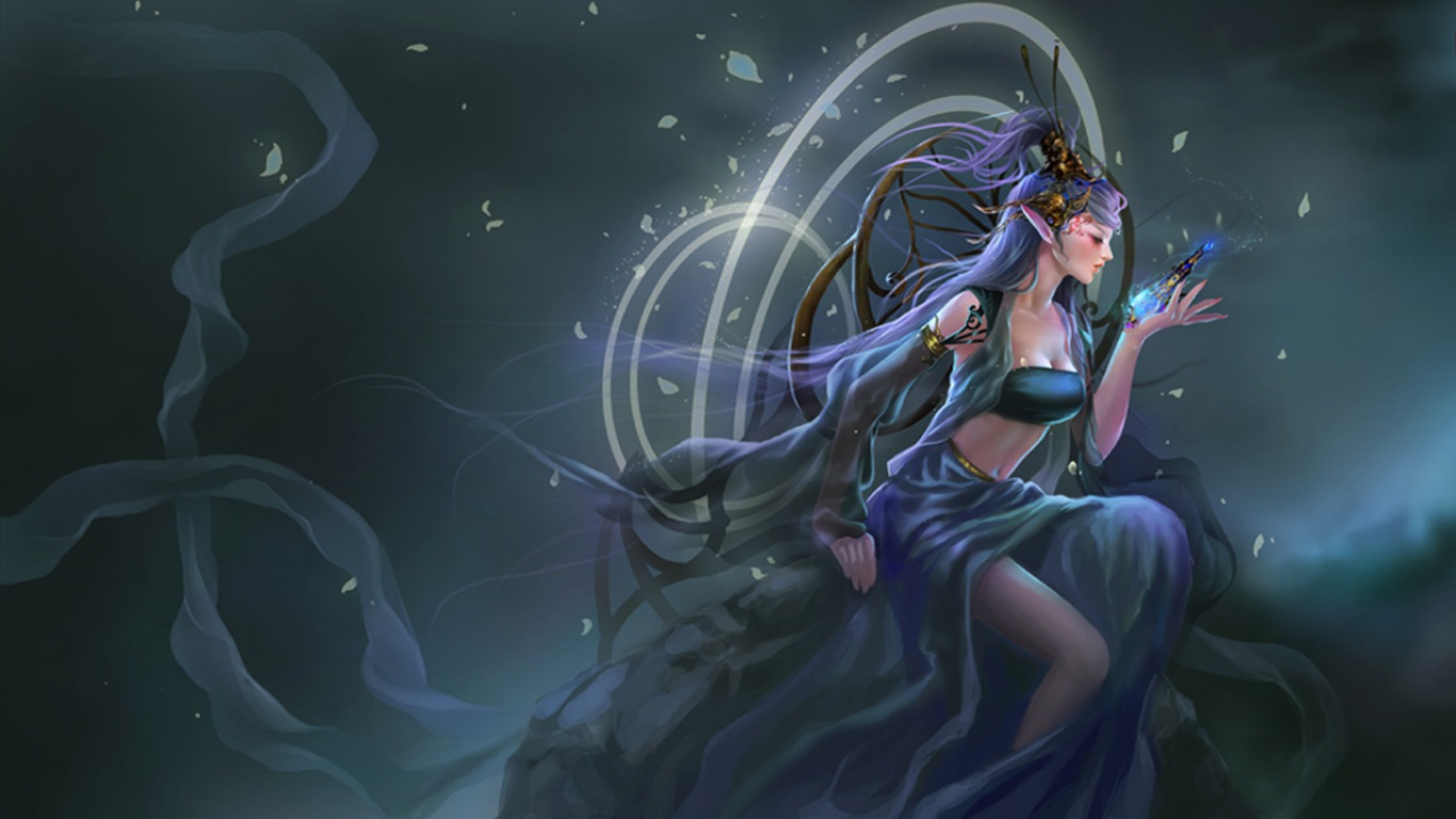 Fantasy girl female elf 1366x768