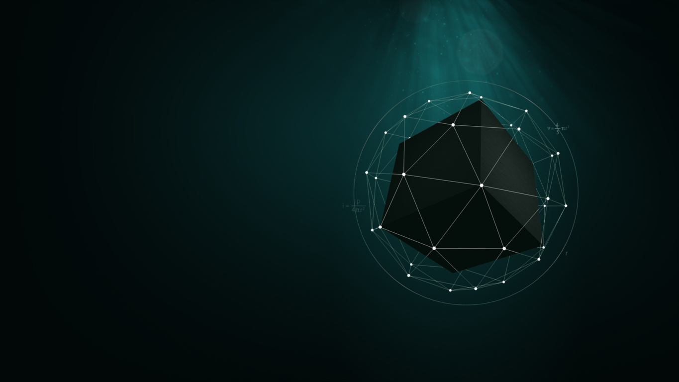 Black cube in a triangles cage wallpaper 17486 1365x768