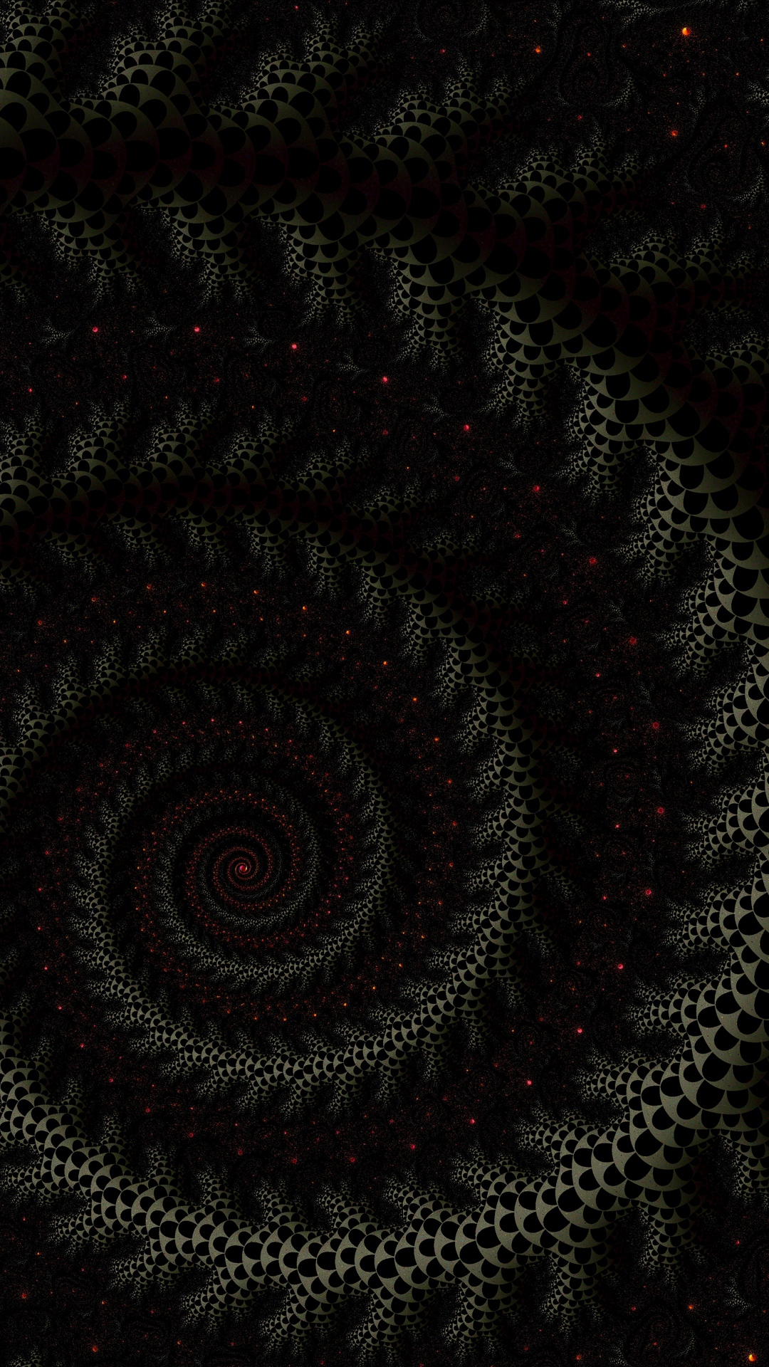 Download wallpaper 1080x1920 spiral fractal dark twisted 1080x1920