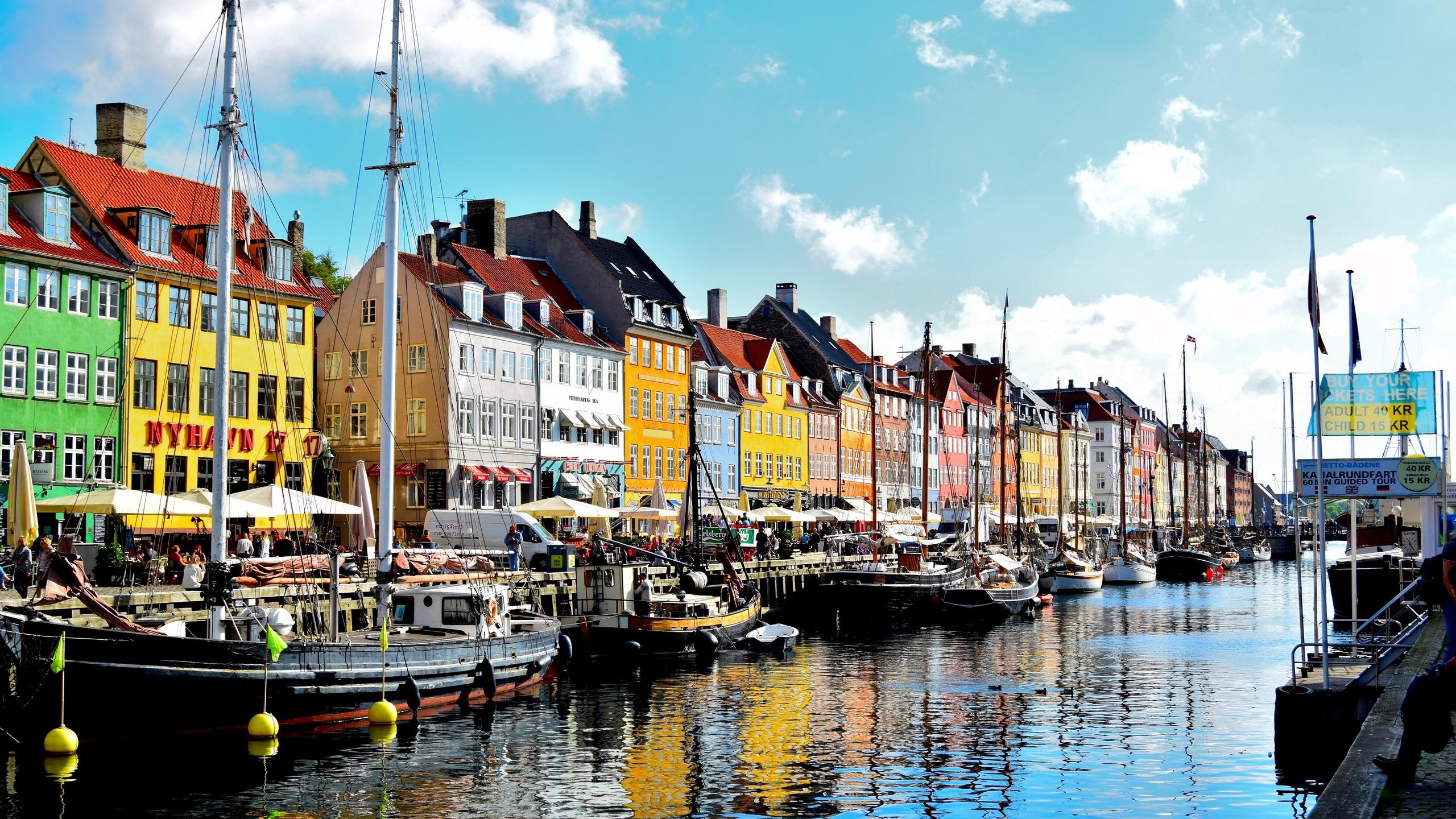 Download wallpaper 2560x1440 copenhagen denmark pier buildings 2560x1440