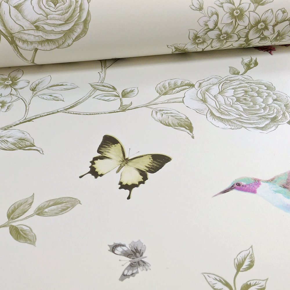 Ideco Rose Garden Bird Butterfly Pattern Floral Motif Wallpaper A14601 1000x1000