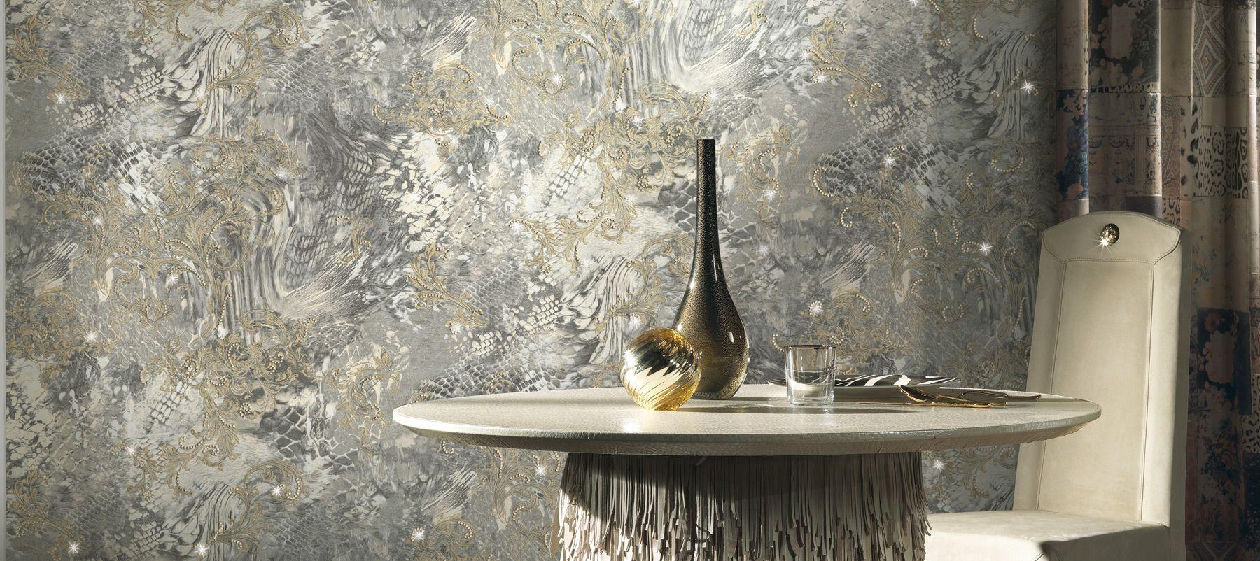 Claudia Schiffer Wallpaper Panel With Crystals   Roberto Cavalli 1800x802
