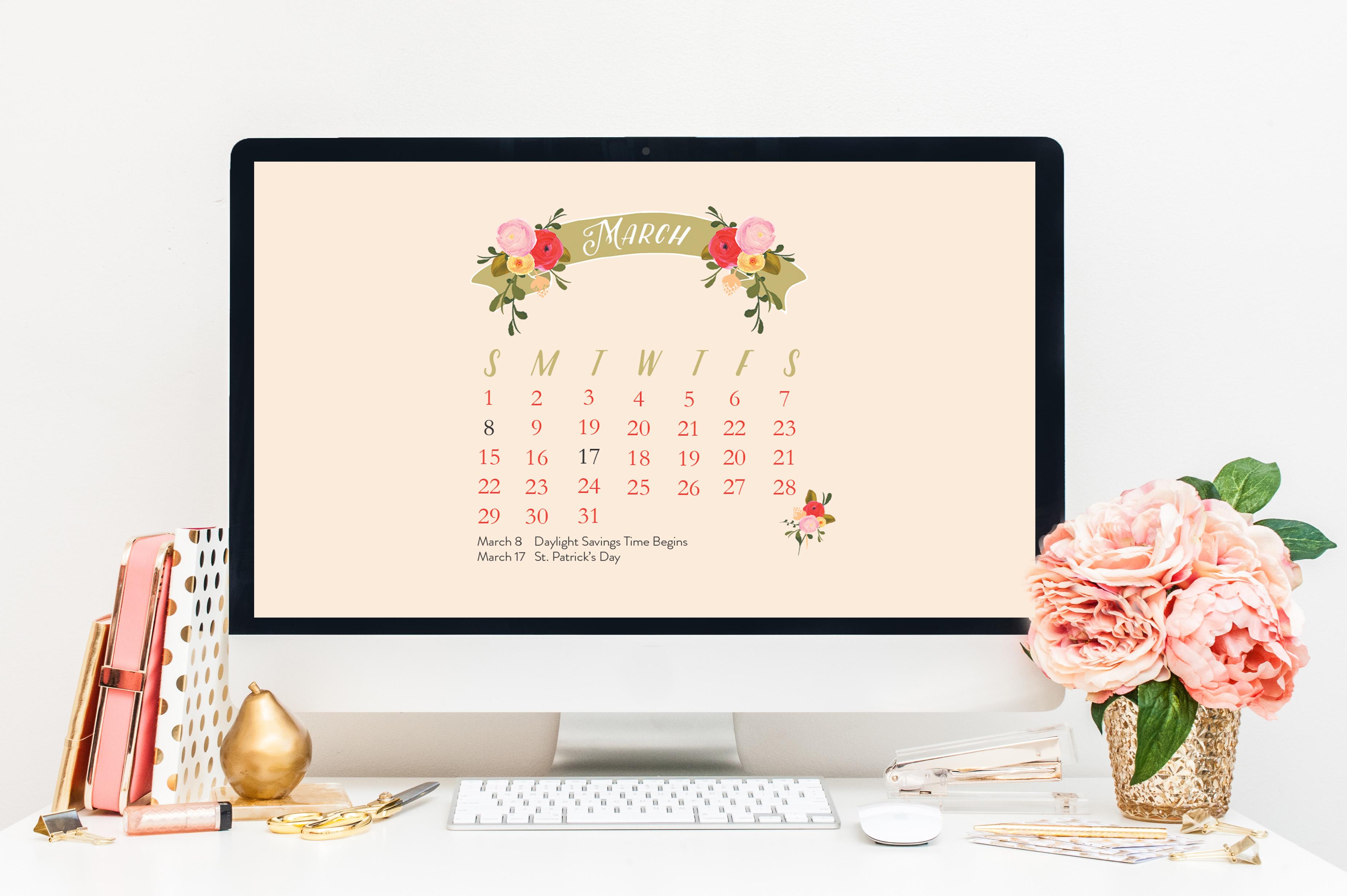 Freebie March 2015 Desktop Calendar 3700x2462