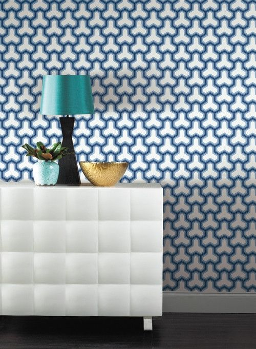 blue and ivory geometric wallpaper 70 Fabric and pillows Pintere 500x681