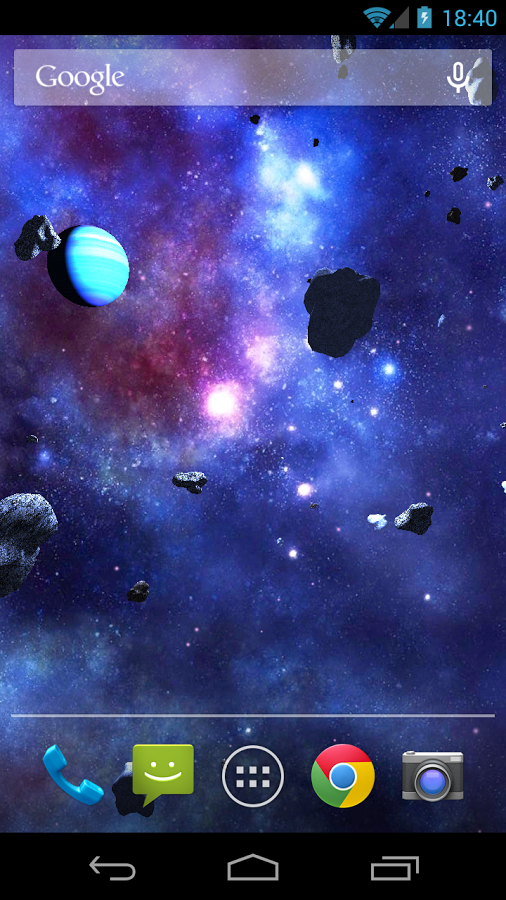 Asteroids 3D live wallpaper para Android SkyDivers 506x900