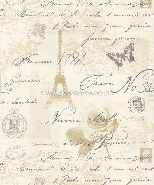 Holden Decor K2 Calligraphy Wallpaper 97750 Paris French Neutral 500x600