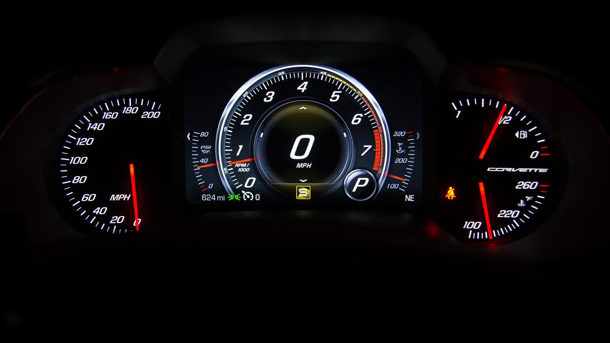 Wallpaper the instrument panel speedometer corvette wallpapers hi 2048x1152