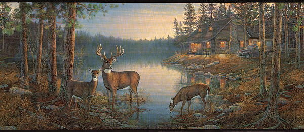 Wall Border With Deer Near A Cabin 600x260