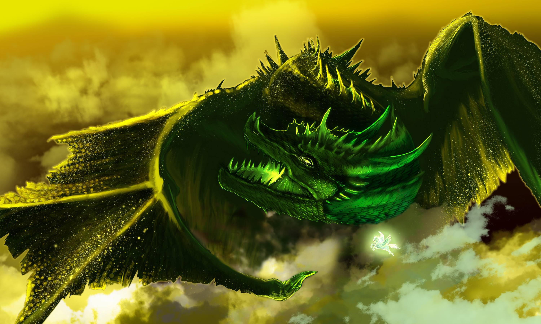 Нарисованый фэнтезийный зеленый дракон  № 3349228 загрузить