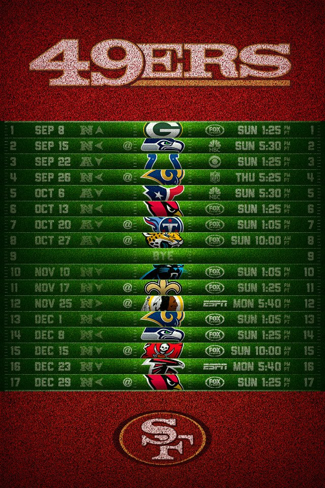 San Francisco 49ers 2013 Schedule iPhone 4 Wallpaper 640x960 640x960