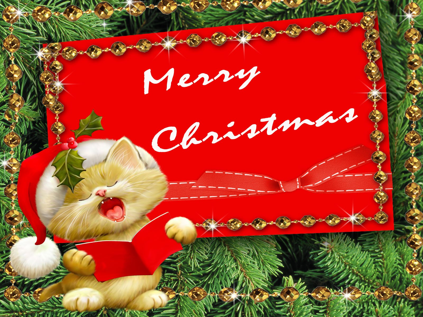 Merry Christmas Kitten computer desktop wallpaper 1600x1200