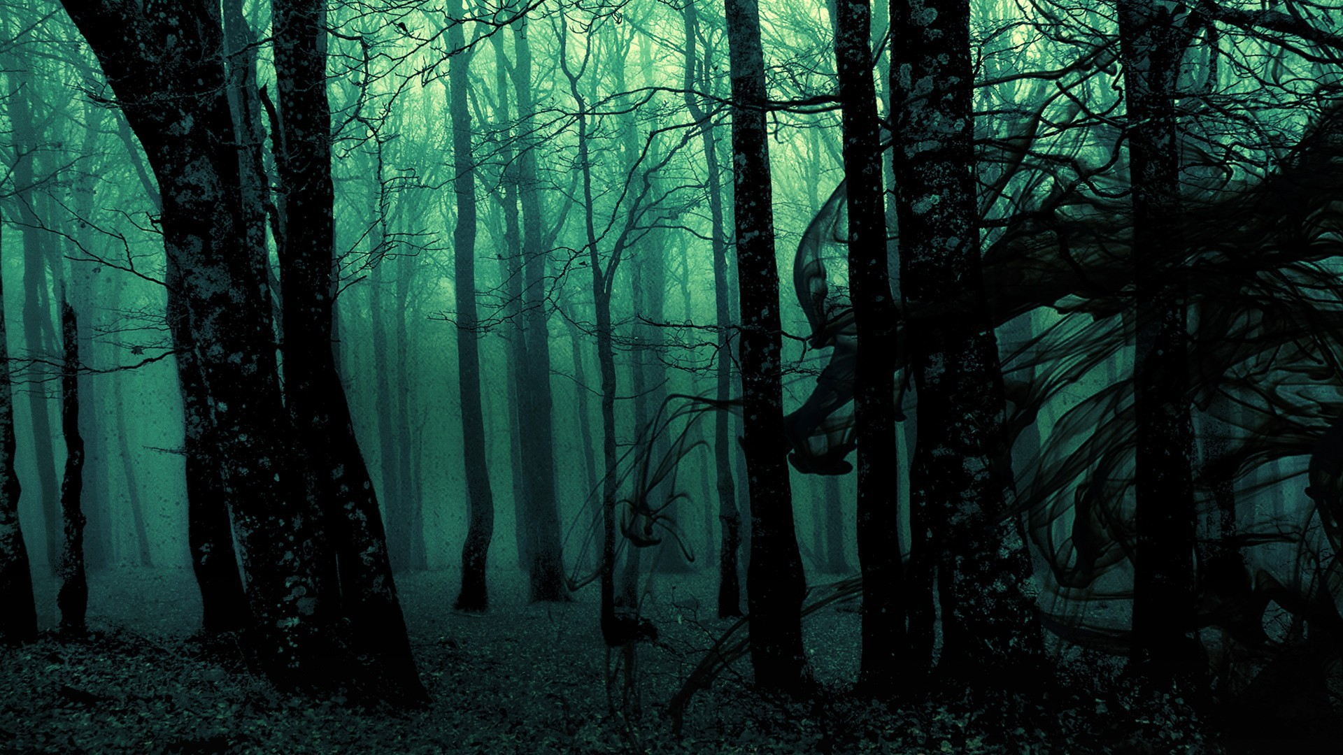 Dark ghost gothic wood trees fantasy evil horror wallpaper 1920x1080 1920x1080
