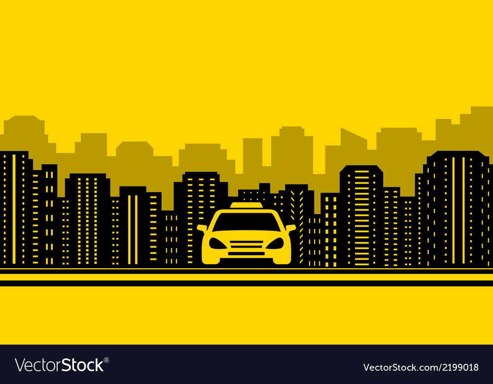 Taxi background with city landscaping Royalty Vector 1000x780