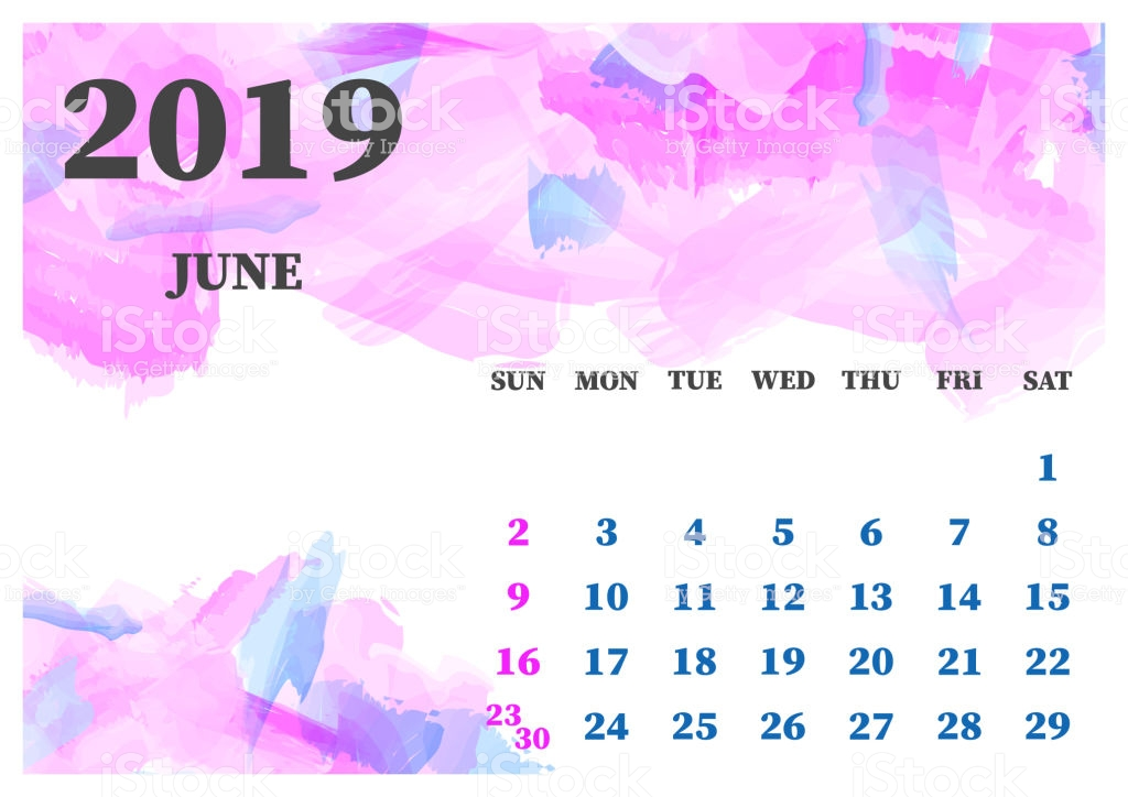 Calendar June 2019 Watercolor Vector Illustration Layers Grouped 1024x724