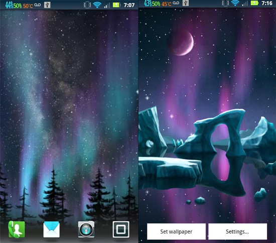 ... animated view of the beautiful northern lights moving on your screen